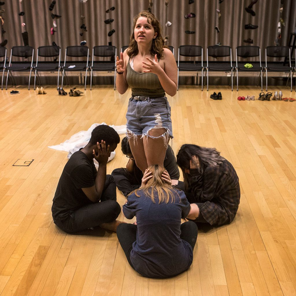 Angie Hogue, 16, acts as a teacher who witnessed the Sandy Hook shooting in Newtown, Conn., during a rehearsal of Cry Havoc Theater's Babel.