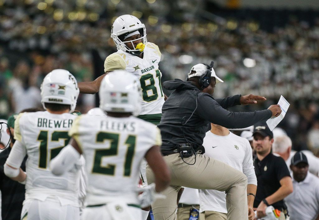Baylor Bears wide receiver Tyquan Thornton (81) celebrates a touchdown during the first half a matchup between Baylor and Texas Tech on Saturday, Nov. 24, 2018 at AT&T Stadium in Arlington, Texas. (Ryan Michalesko/The Dallas Morning News)