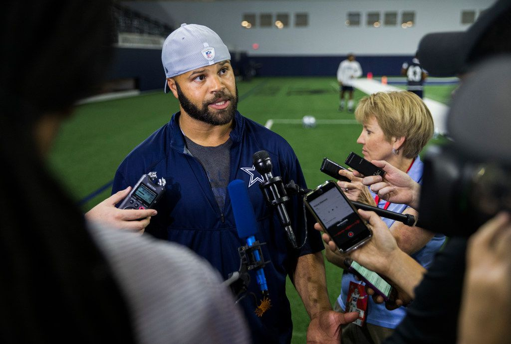 Dallas Cowboys passing game coordinator and defensive backs coach Kris Richard speaks to reporters during a Dallas Cowboys OTA practice on Wednesday, May 22, 2019 at The Star in Frisco. (Ashley Landis/The Dallas Morning News)
