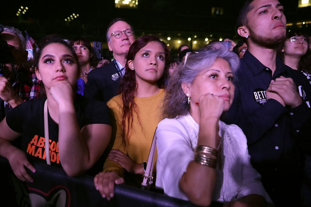 Supporters listen to U.S. Senate candidate Rep. Beto O'Rourke as he concedes the race on Election Day at Southwest University Park Nov. 6, 2018 in El Paso. (Chip Somodevilla/Getty Images)