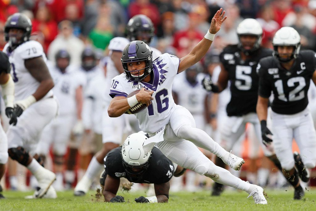 TCU quarterback Alex Delton (16) is tackled by Iowa State linebacker O'Rien Vance (34) during the first half of an NCAA college football game, Saturday, Oct. 5, 2019, in Ames, Iowa.