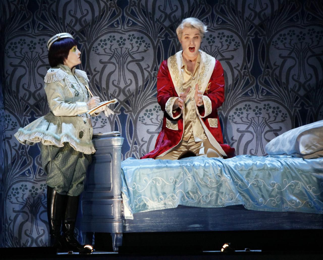 Lucy Schaufer, as Ib, and Jonathan Blalock, as Prince Claus, perform during a dress rehearsal for Mark Adamo's Becoming Santa Claus.