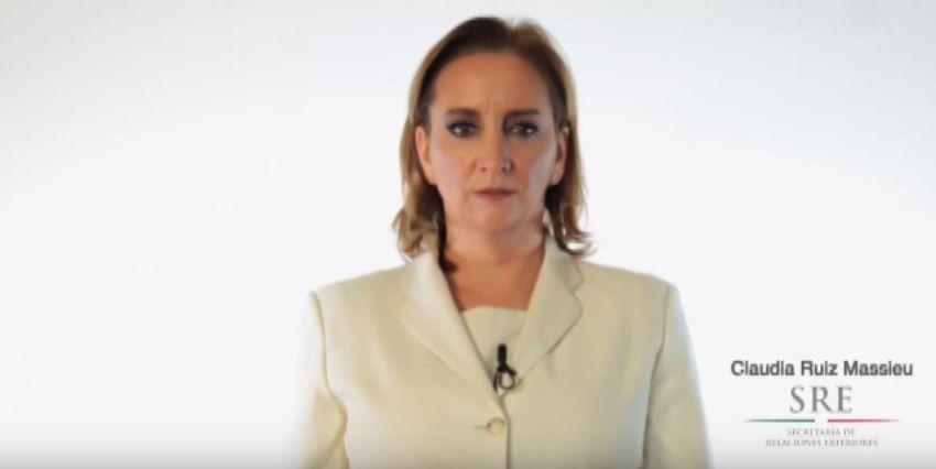 """La canciller Claudia Ruiz Massieu anunció el programa """"Estamos Contigo"""" de la SRE esta semana. (FOTO DE PANTALLA/YOU TUBE)"""