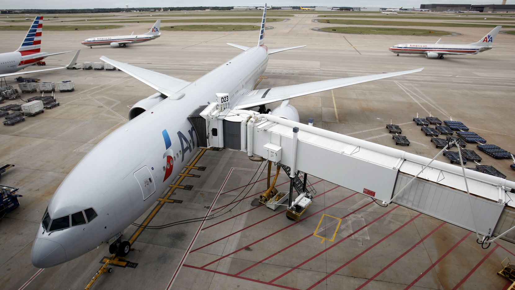 An American Airlines 777 on display outside Terminal D at DFW International Airport in October 2013.