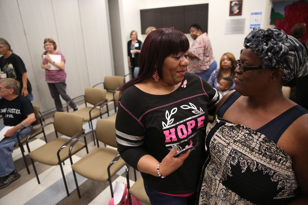 Barbara Edwards, a breast cancer survivor, talks to her friend and fellow survivor Amelia Washington, right, after a cooking class at Cvetko Patient Resource Center at Baylor University Medical Center in Dallas.