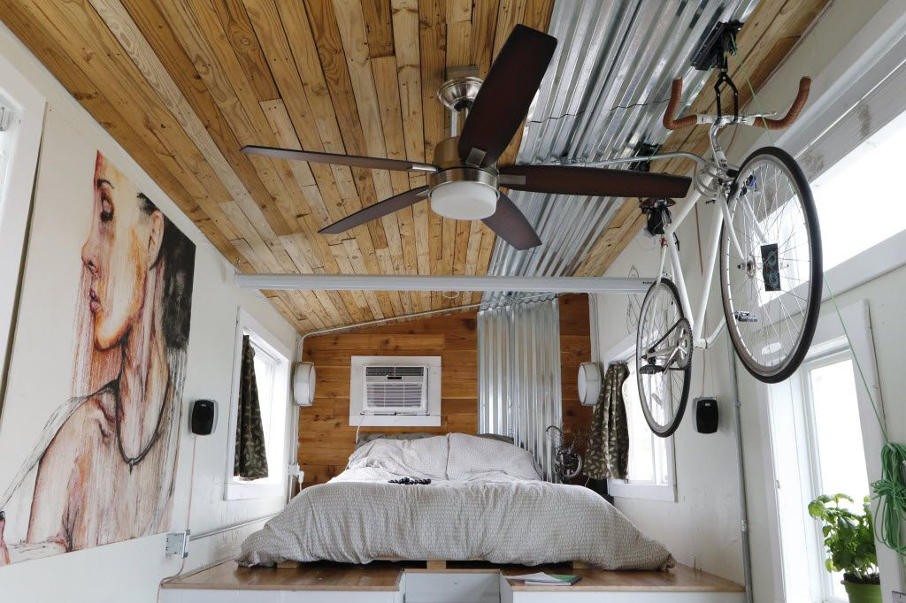 Interior of Richard Ward's Terraform Tiny House, a 250-square-foot house on wheels that will be on display during Earth Day Texas, a three-day festival that starts Friday in Fair Park. (David Woo/The Dallas Morning News)