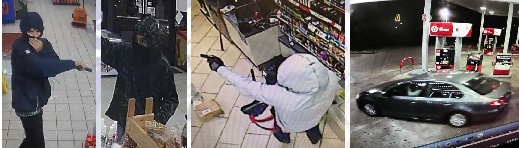 Dallas police are looking for three people suspected of robbing gas stations around Dallas at gunpoint. They fled in a stolen Volkswagen Jetta.