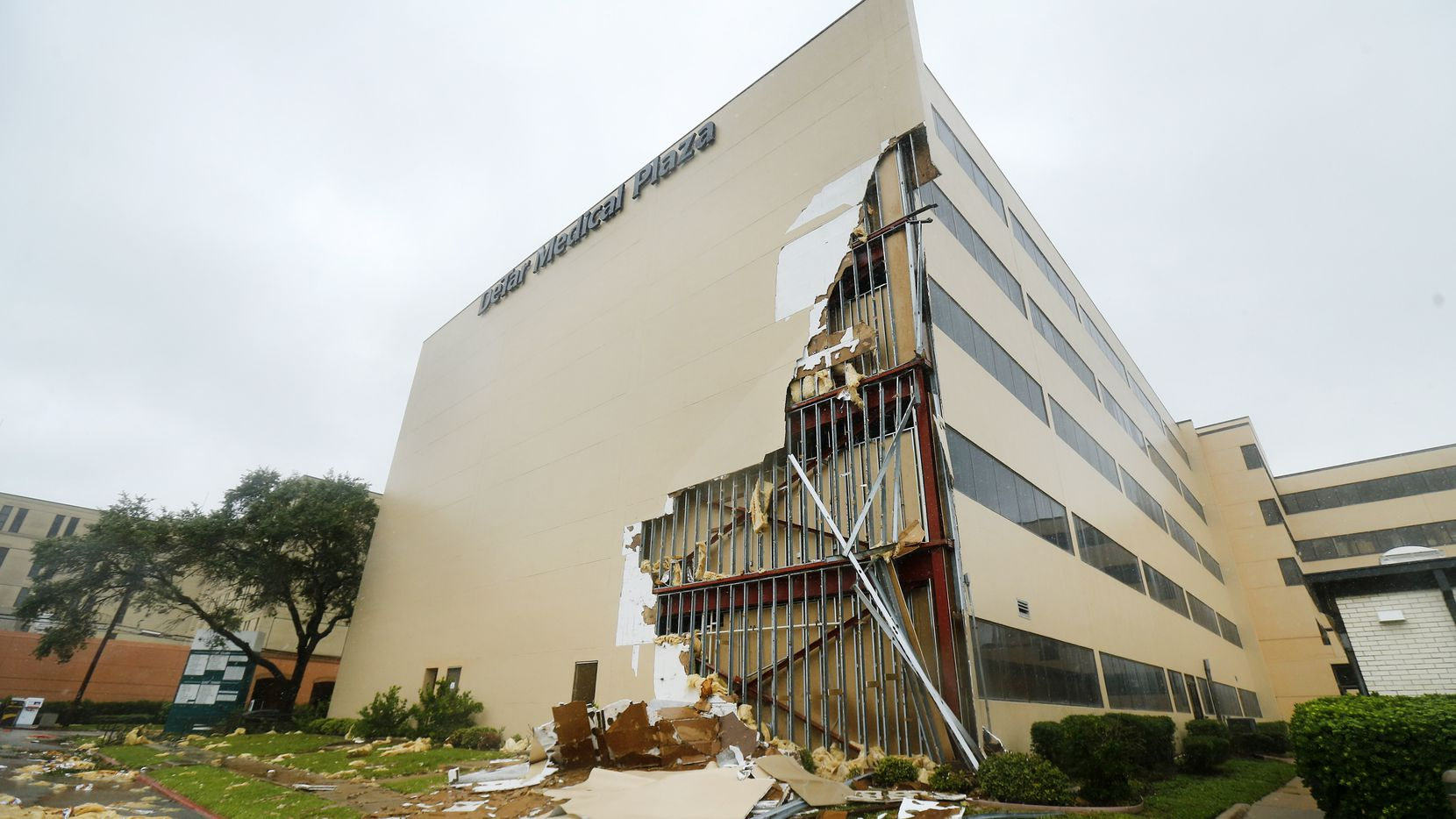 The Detar Medical Plaza in Victoria, Texas sustained damage to several floors after Hurricane Harvey tore it open early Saturday.