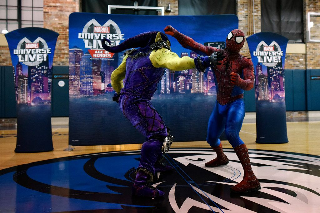 Spider-Man and Green Goblin from the Marvel Universe Live! Age of Heroes live-action show fight during a behind-the-scenes tour at the American Airlines Center in Dallas, on Wednesday afternoon, Aug. 08, 2018.