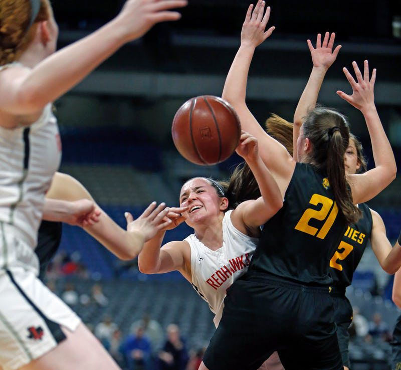 Mara Casey drives by Amarillos' Ashlyn Milton. UIL girls basketball 5A State final between Frisco Liberty and Amarillo on Saturday, March 2, 2019 at the Alamodome in San Antonio, Texas. (Ron Cortes/ Special Contributor) ORG XMIT: 10043974A