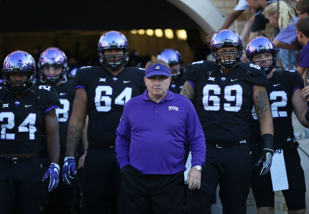TCU head coach Gary Patterson prepares to enter the field with his players before an NCAA football game between the Arkansas Razorbacks and the TCU Horned Frogs at Amon G. Carter Stadium in Fort Worth, Texas Saturday September 10, 2016. (Andy Jacobsohn/The Dallas Morning News)