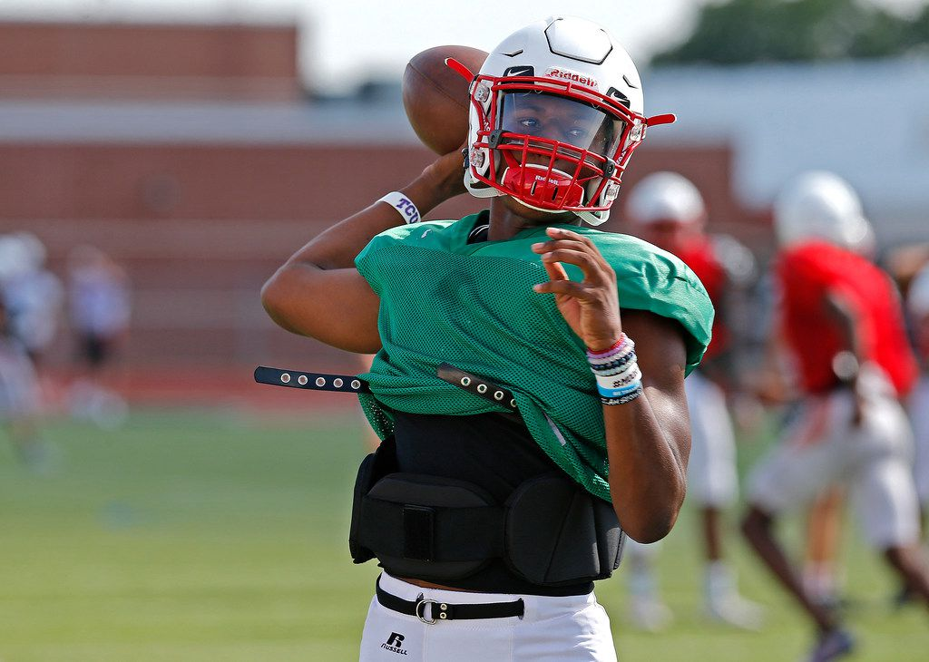 Quarterback Brendon Lewis throws a pass during football practice for Melissa High School at Cardinal Stadium on Wednesday, August 15, 2018. (Stewart F. House/Special Contributor)