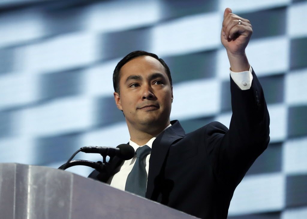 Rep. Joaquin Castro, D-Tex., gives his thumb up as he speaks during the final day of the Democratic National Convention in Philadelphia, Thursday, July 28, 2016. (AP Photo/Carolyn Kaster)