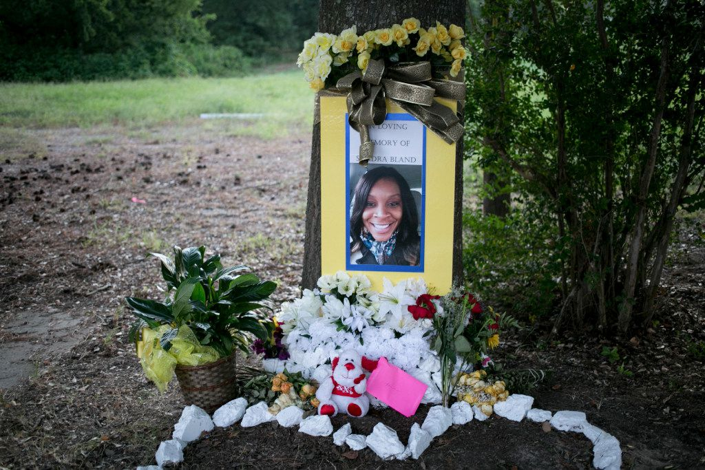 A memorial was built for Sandra Bland near where she was arrested in Prairie View.