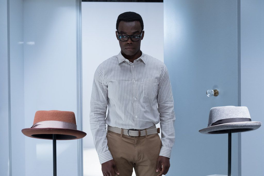 "William Jackson Harper plays Chidi Anagonye in NBC comedy ""The Good Place."" Chidi has a hard time making decisions. Which hat would you choose?"