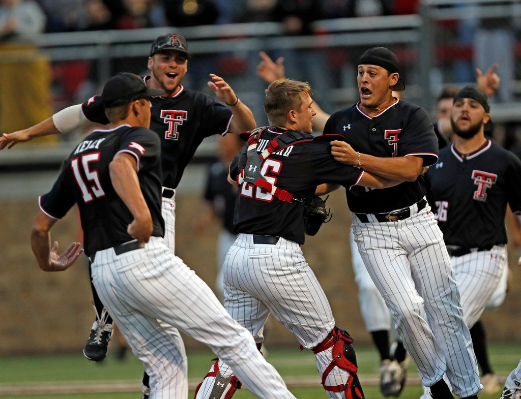 Texas Tech players celebrate after Game 3 of an NCAA college baseball super regional tournament against Oklahoma State, Sunday, June 9, 2019, in Lubbock, Texas. (AP Photo/Brad Tollefson)