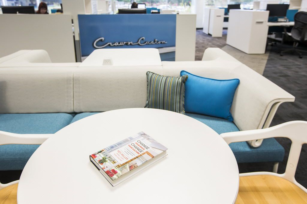 """The book """"Change Your Space, Change Your Culture"""" by Rex Miller sits atop office furniture by Herman Miller. (Smiley N. Pool/The Dallas Morning News)"""