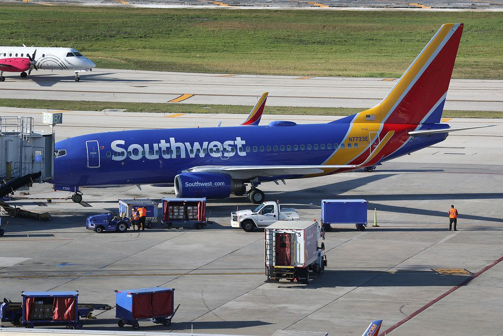 Southwest planes sat on the tarmac at Fort Lauderdale-Hollywood International Airport on Feb. 20, 2019, in Fort Lauderdale, Fla.