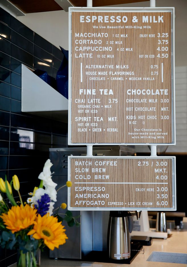 The menu at Merit Coffee in Deep Ellum in Dallas on Monday, March 25, 2019. (Rose Baca/Staff Photographer)
