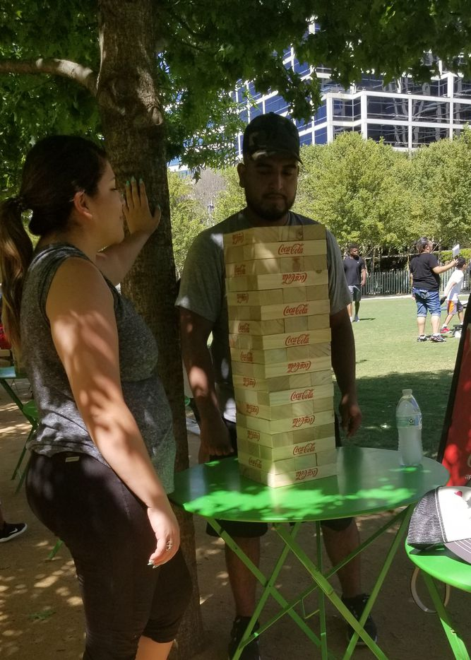 World Cup spectators at Klyde Warren Park played Jenga during halftime of Sunday's match featuring France vs. Croatia.