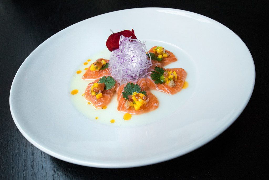 The salmon with mango salsa shot at Imoto in Dallas on June 7, 2018. In the coming weeks, Imoto, a new Asian restaurant, will be open in Victory Park. (Carly Geraci/The Dallas Morning News)