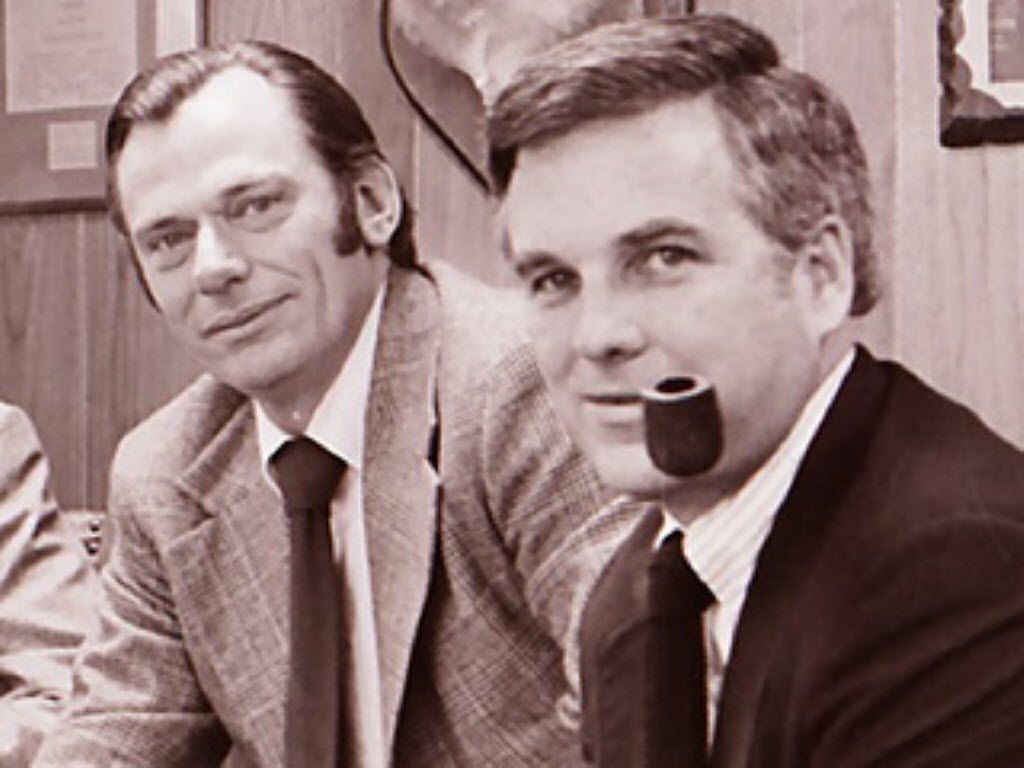 Southwest Airlines co-founders Herb Kelleher (left) and Rollin King in an undated photo from their early days.