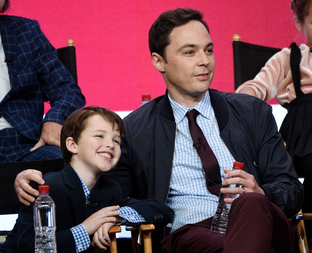 Iain Armitage, left, a cast member in the CBS series Young Sheldon, and executive producer-narrator Jim Parsons take part in a panel discussion during the 2017 Television Critics Association Summer Press Tour on Tuesday, August 1, 2017, in Beverly Hills, Calif.