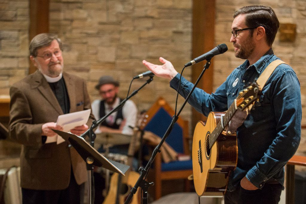 Ryan Flanigan points to Nelson Koscheski before performing one of Koscheski's poems set to music at The Canterbury House at SMU on Thursday, Dec. 1, 2016, in Dallas.  (Smiley N. Pool/The Dallas Morning News)