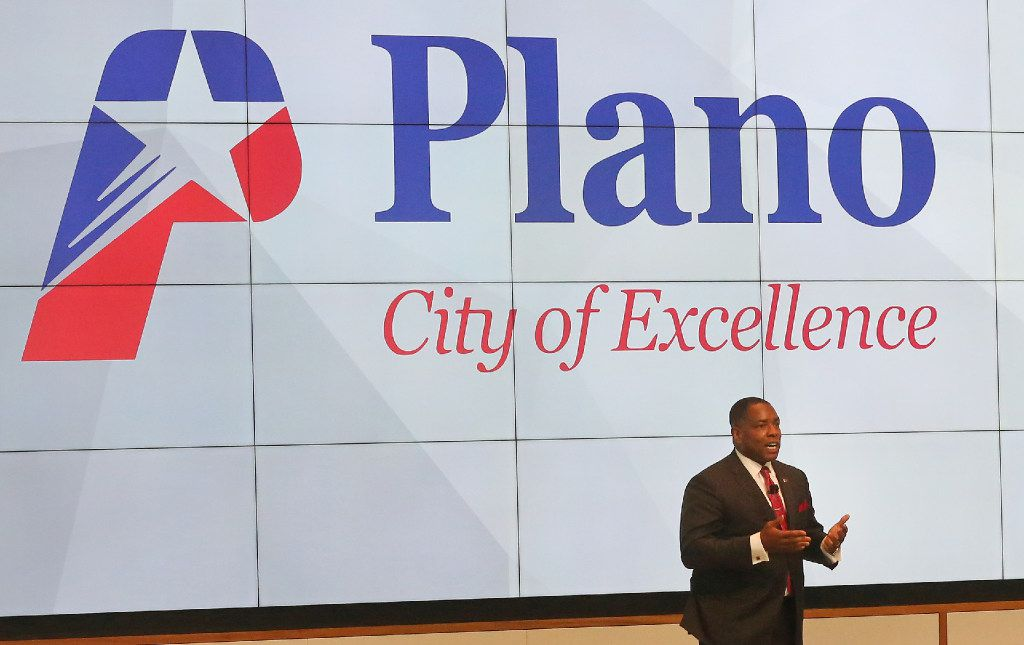 Plano Mayor Harry LaRosiliere speaks to the crowd at the grand opening ceremony of the Toyota headquarters in Plano on July 6, 2017.