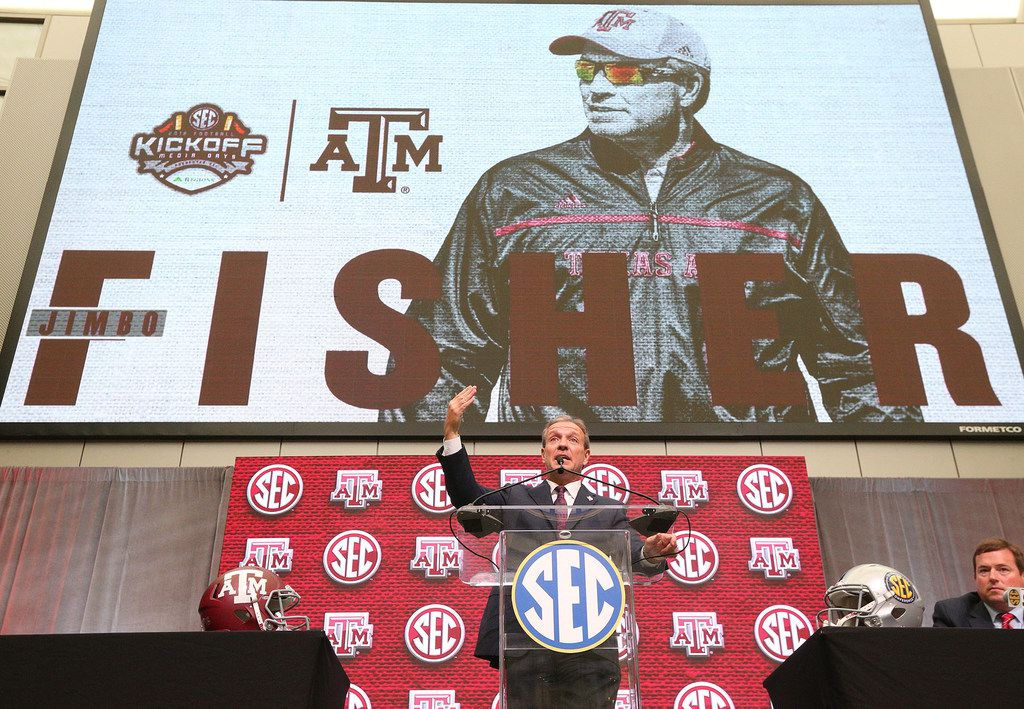 Texas A&M head coach Jimbo Fisher holds his SEC Media Days news conference at the College Football Hall of Fame on July 16, 2018, in Atlanta. (Curtis Compton/Atlanta Journal-Constitution/TNS)