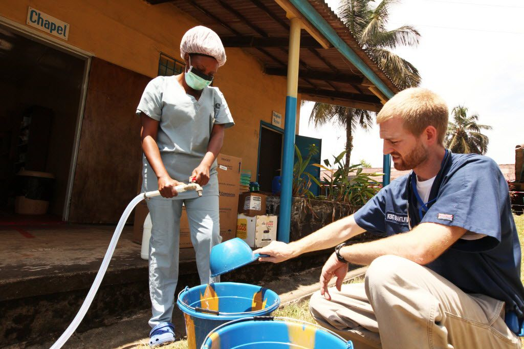 Dr. Kent Brantly, an American who contracted Ebola, works at an Ebola isolation ward at a mission hospital outside of Monrovia, Liberia, in this undated photo from Samaritan's Purse, an evangelical Christian humanitarian relief organization.