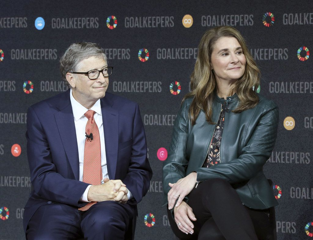 Bill Gates and Melinda Gates introduce the Goalkeepers event at the Lincoln Center on Sept. 26, 2018, in New York. (Ludovic Marin/AFP/Getty Images)