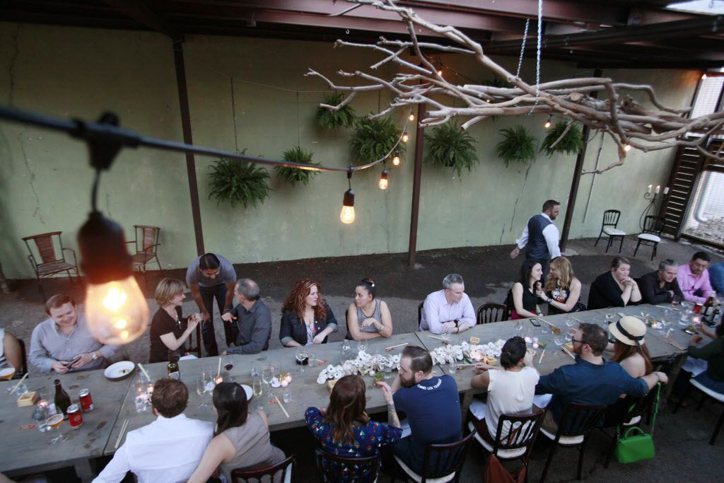 The main dinning area at a pop-up location for Uchi