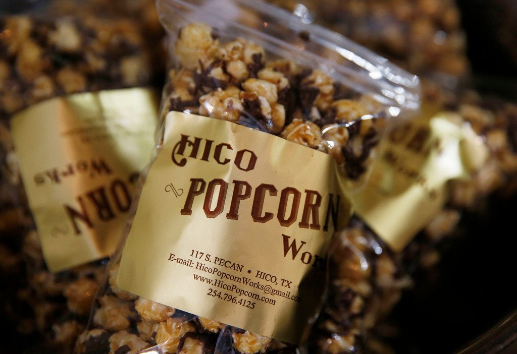 Chocolate Caramel Buzz popcorn for sale at Hico Popcorn Works in Hico.