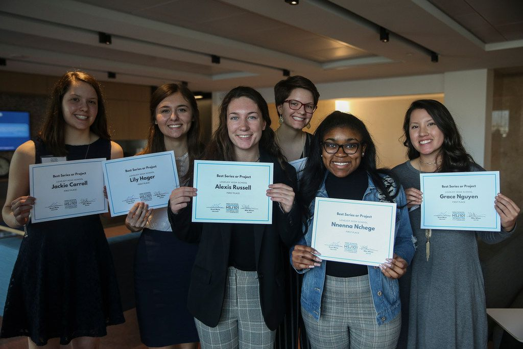 Students from Lovejoy High School are pictured during The Dallas Morning News High School Journalism Awards reception on Thursday, April 11, 2019 in Dallas. (Ryan Michalesko/The Dallas Morning News)