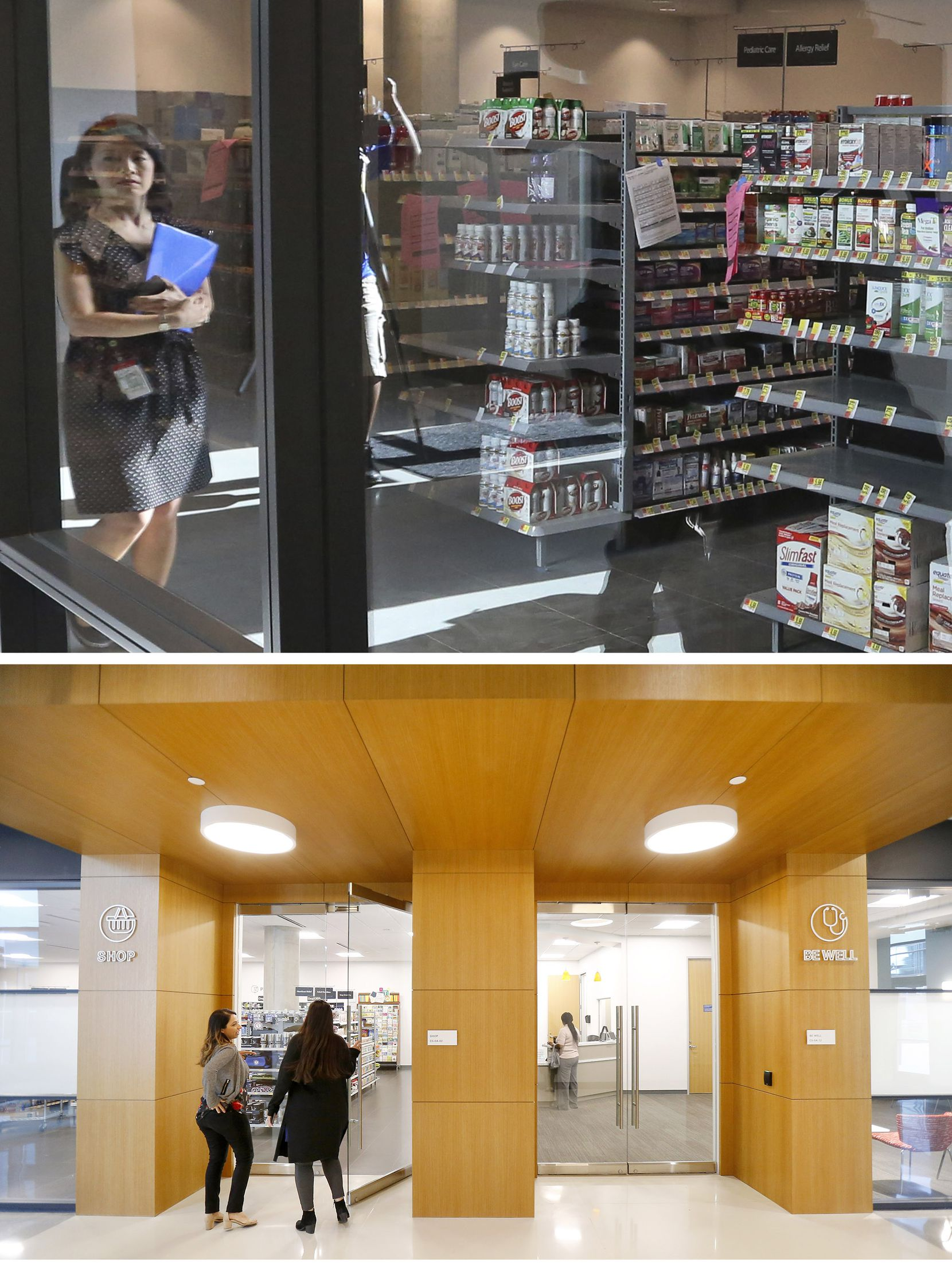 A small store for employees (top) operates on campus at the Toyota headquarters. The entrance to the pharmacy and convenience store run by Wal-Mart (below) is next to a Be Well medical clinic.