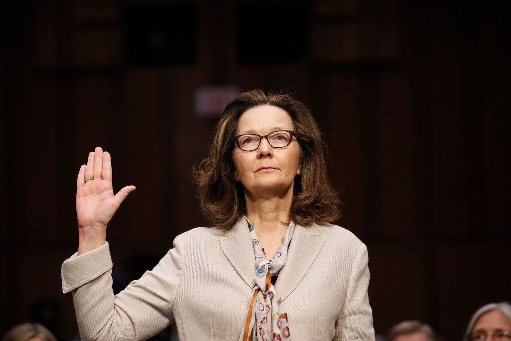 CIA nominee Gina Haspel is sworn in during a confirmation hearing of the Senate Intelligence Committee on Capitol Hill, Wednesday, May 9, 2018 in Washington. (AP Photo/Alex Brandon)