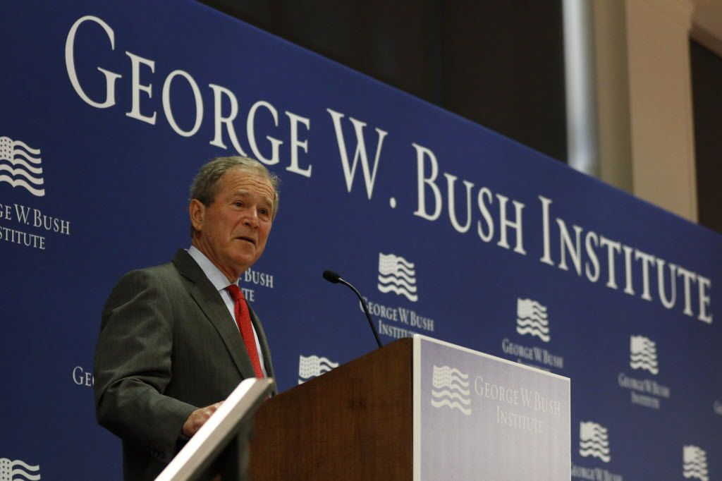 "President George W. Bush speaks while introducing the launch of a €""North America Scorecard""€ at The George W. Bush Institute in Dallas on Nov., 4, 2015. (Rachel Woolf/The Dallas Morning News)"