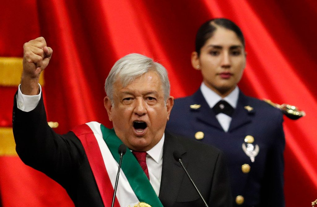 Lopez Obrador speaks during his inaugural ceremony at the National Congress in Mexico City.