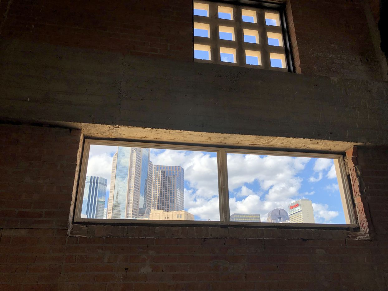 Long windows in the old Masonic building have a view of downtown.