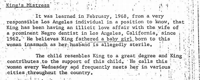 """Portion of FBI report on Martin Luther King Jr., stamped """"secret"""" and dated March 12, 1968."""