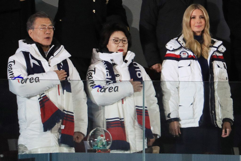 From left, South Korean President Moon Jae-in with his wife, Kim Jung-sook, and Ivanka Trump attend the closing ceremony of the Pyeongchang 2018 Winter Olympic Games on Sunday, Feb. 25, 2018 at Pyeongchang Olympic Stadium.