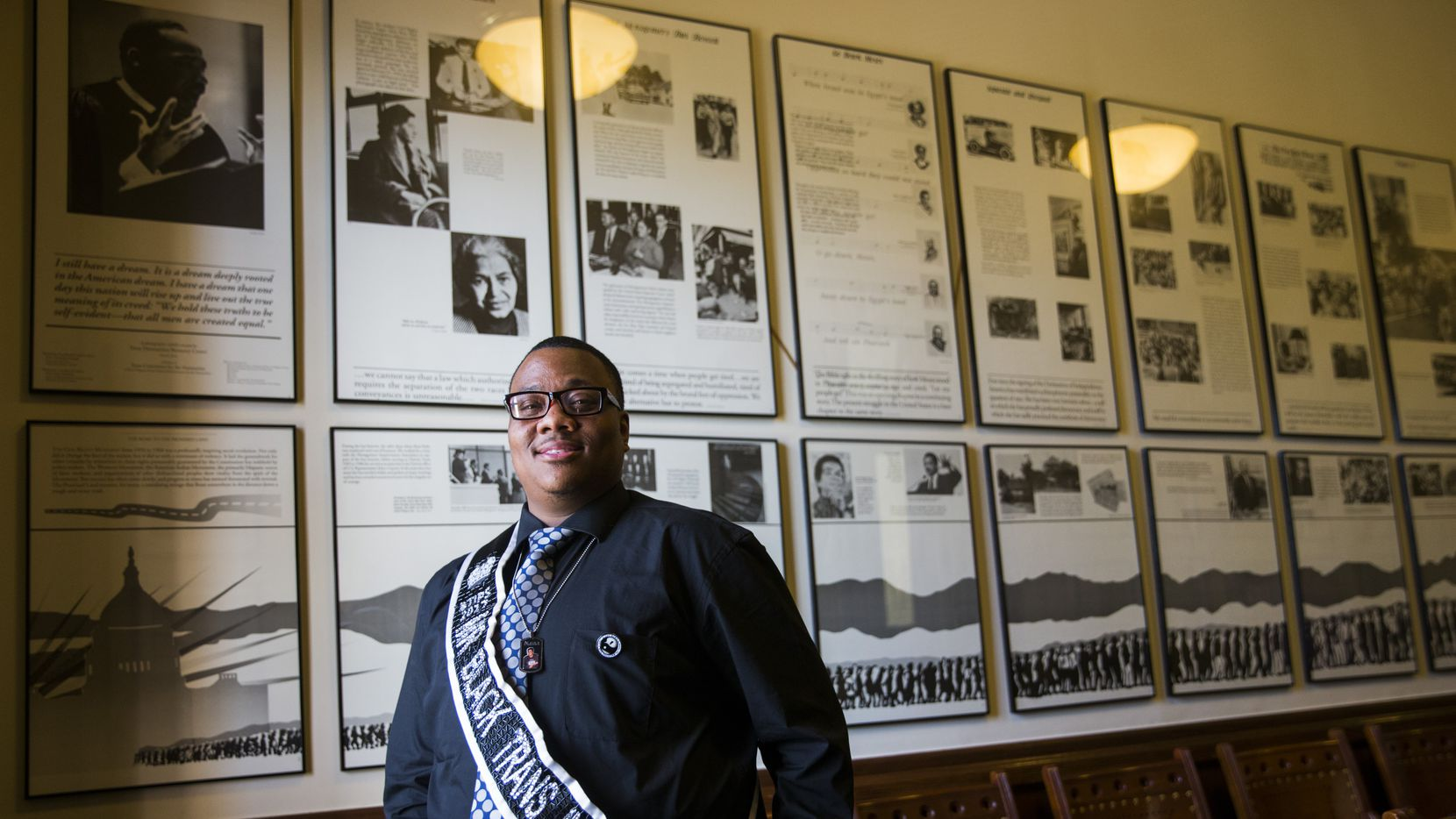 Trenton Johnson, in the Civil Rights Room at the state Capitol this summer.