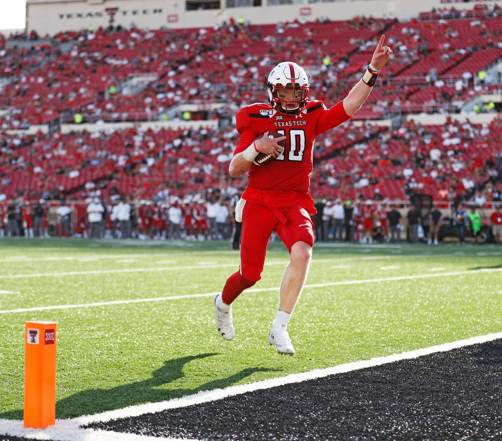 Texas Tech's Alan Bowman (10) scores a touchdown against Montana State during the second half of an NCAA college football game Saturday, Aug. 31, 2019, in Lubbock, Texas. (Brad Tollefson/Lubbock Avalanche-Journal via AP)