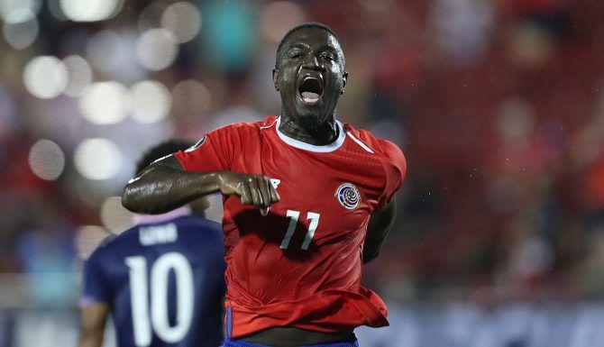 Mayron George celebra su gol para Costa Rica. Foto de Omar Vega para Al Día.