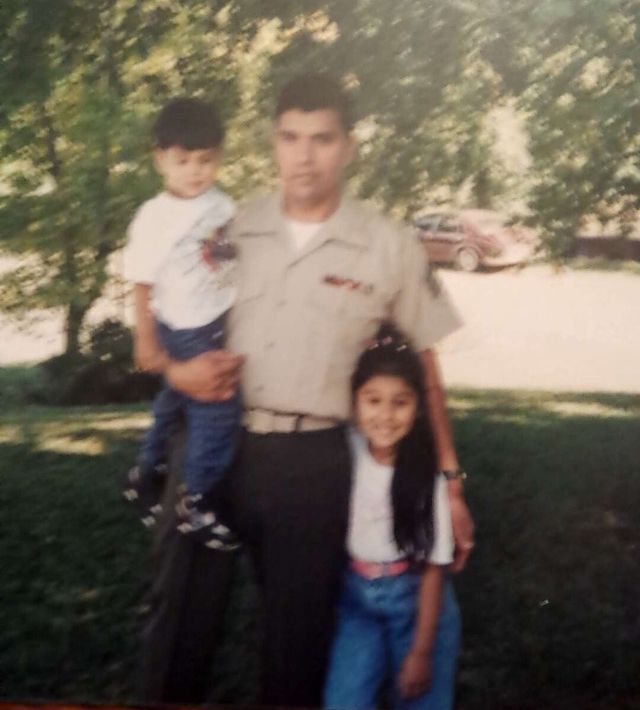 Alex Hernández with her father, Daniel, and her brother, Mark Anthony.