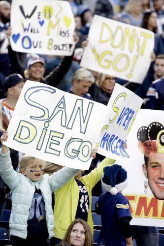 Fans de los Chargers pidiendo con pancartas que no se vayan de San Diego. Foto AP