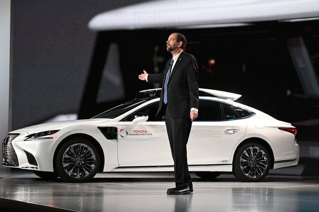 Gill Pratt, CEO Toyota Research Institute, tells an audience at CES that Toyota's advanced driver assist technology can take over and guide a car out of harm's way when the human driver becomes drowsy, distracted or drunk..