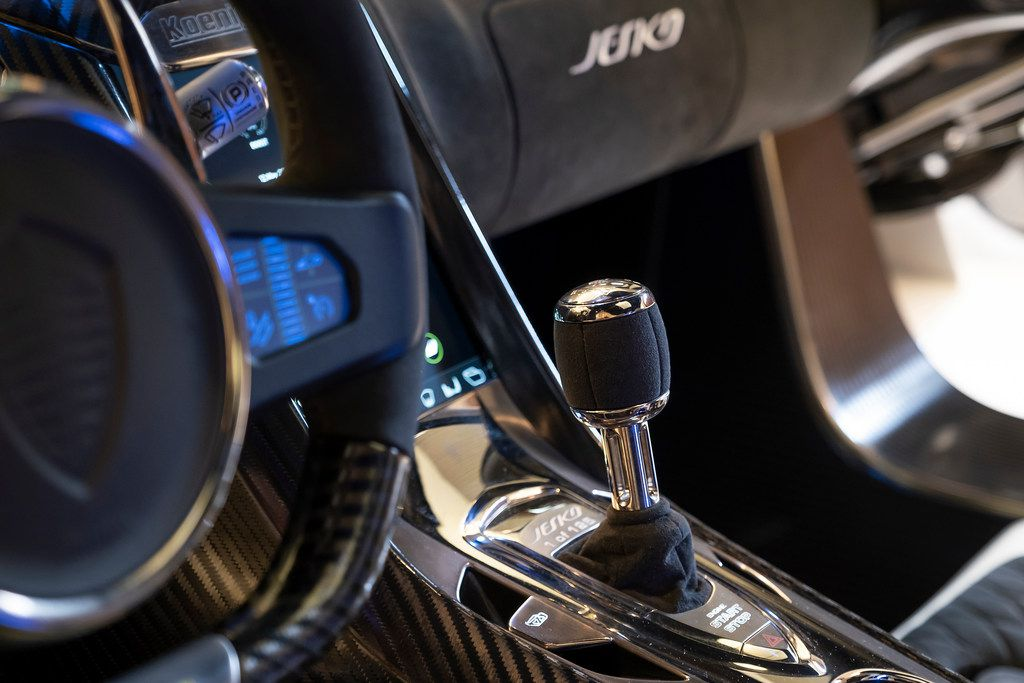 The steering wheel and center console of the Koenigsegg Jesko.