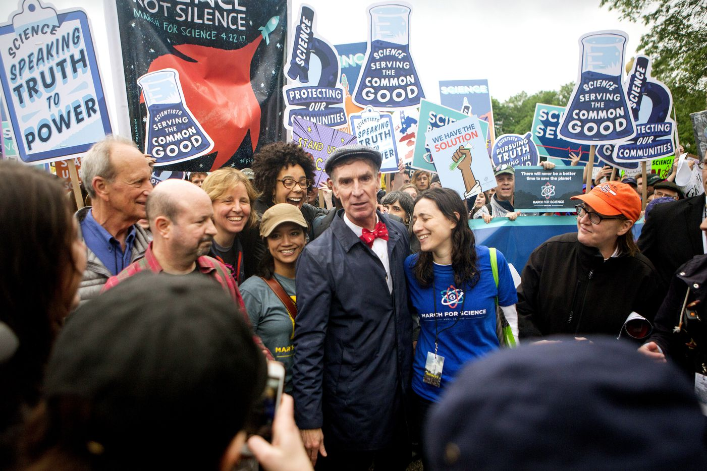 Bill Nye the Science Guy arrives to lead scientists and supporters down Constitution Avenue during the March for Science on April 22, 2017 in Washington, DC. The event is being described as a call to support and safeguard the scientific community.  (Jessica Kourkounis/Getty Images)